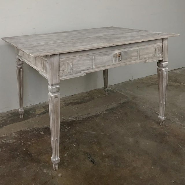 19th Century Country French Louis XVI Whitewashed End Table - Writing Table was hand-crafted from solid oak to last for...