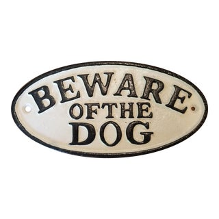 Vintage Cast Iron Beware of the Dog Sign For Sale