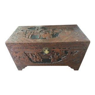 Vintage Hand Carved Chinese Chest For Sale