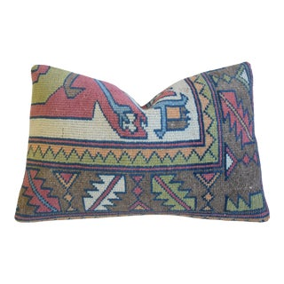 """Boho-Chic Wool Turkish Carpet Feather/Down Pillow 24"""" X 16"""" For Sale"""