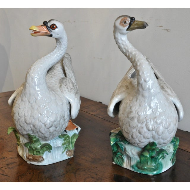 Pair of Early 20th Century Meissen Type Porcelain Swans For Sale In Boston - Image 6 of 8