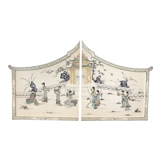 Vintage Chinoiserie Lacquered Pagoda Decorative Panels - a Pair For Sale