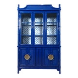 Image of Faux Bamboo Navy Blue Lacquered China Cabinet For Sale