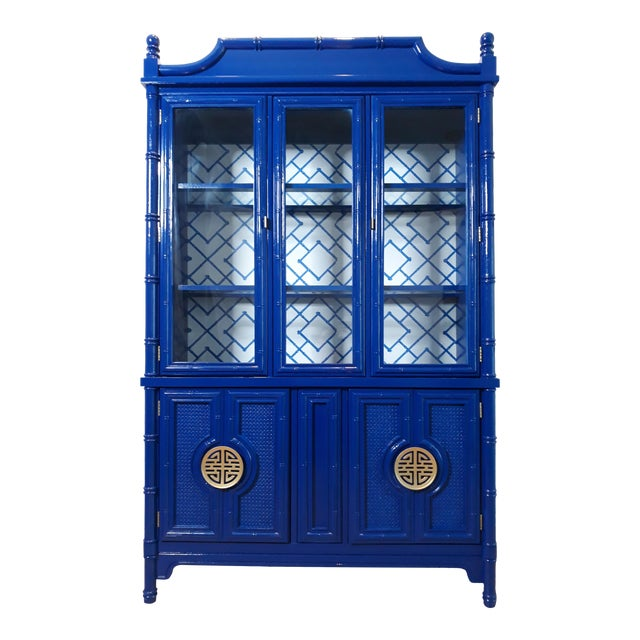 Faux Bamboo Navy Blue Lacquered China Cabinet For Sale