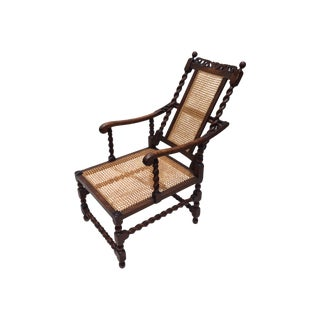Antique English Barley Twist Cane Reclining Chair