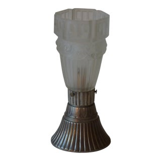 Early 20th Century Art Deco Metal Table Lamp For Sale