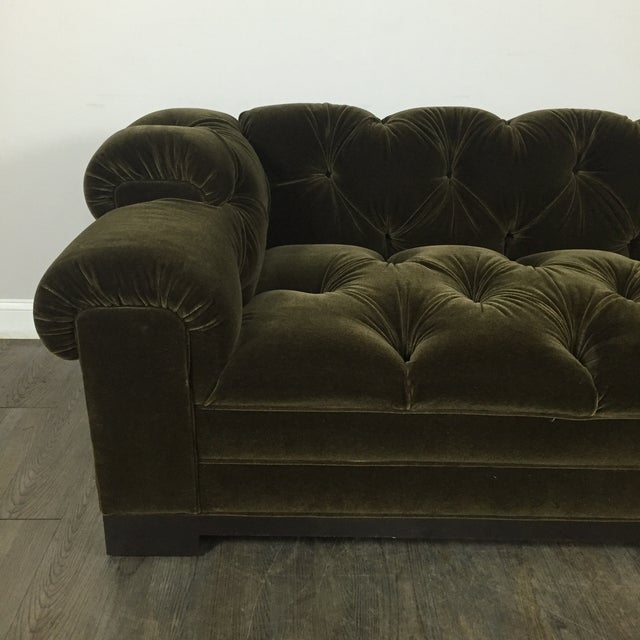 Tufted Green Mohair Sofa - Image 4 of 11