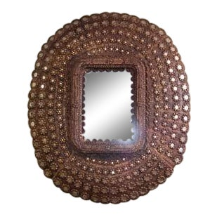 Large Oval Peacock Mirror For Sale