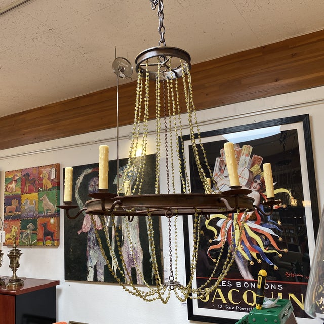 French Mid 20th Century 1940's French Six Light Chandelier For Sale - Image 3 of 13