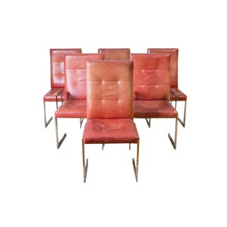 1970s Vladimir Kagan Chrome & Leather Dining Chairs – a Set of 6
