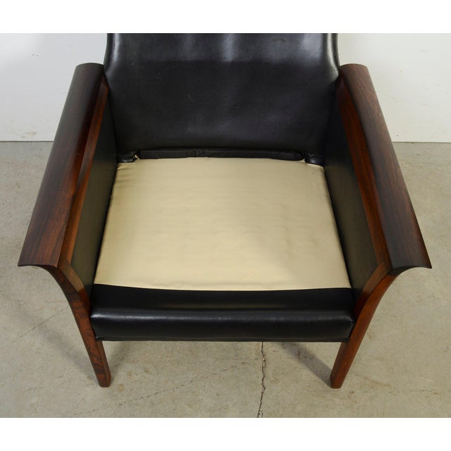 Leather Hans Olsen Knut Saeter Vatne Mobler Rosewood Leather High Back Chair For Sale - Image 7 of 8