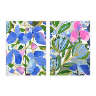 St Barth's Lilac Diptych by Lulu DK in White Framed Paper, Small Art Print - A Pair
