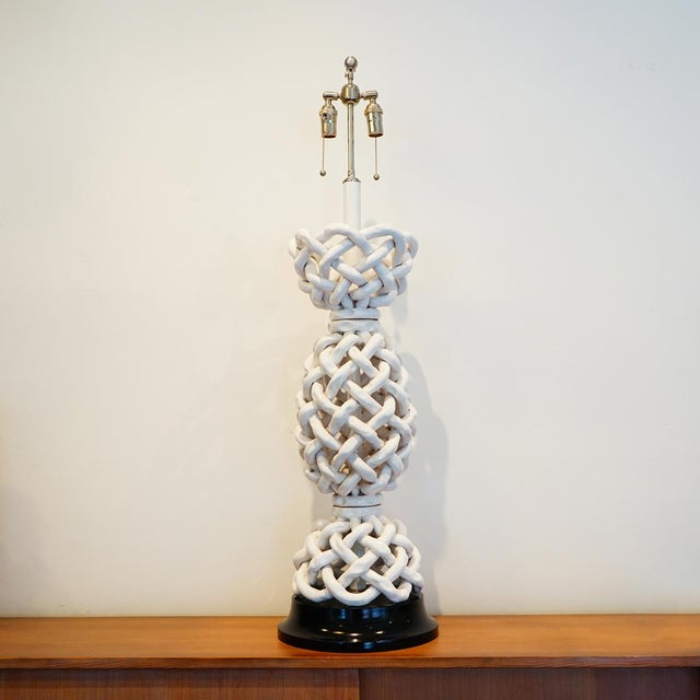 Italian Basket Weave Table Lamp Exceptional porcelain hand woven table lamp from Livorno Italy Price: 2000.00 Dimensions:...