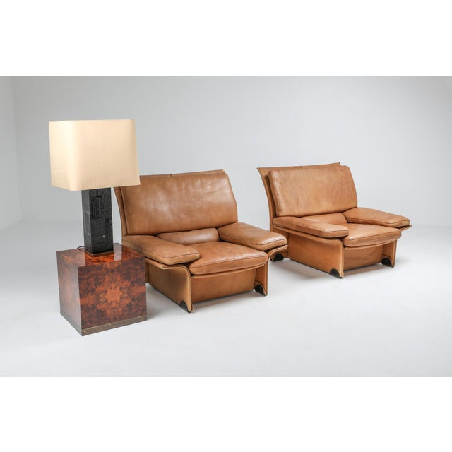 Leather Thick Camel Leather Club Chairs by Titiana Ammanati & Giampiero Vitelli for Brunati - 1970s For Sale - Image 7 of 12