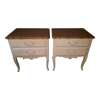 Ethan Allen Country French Nightstand 2 Drawer Side Tables - A Pair For Sale