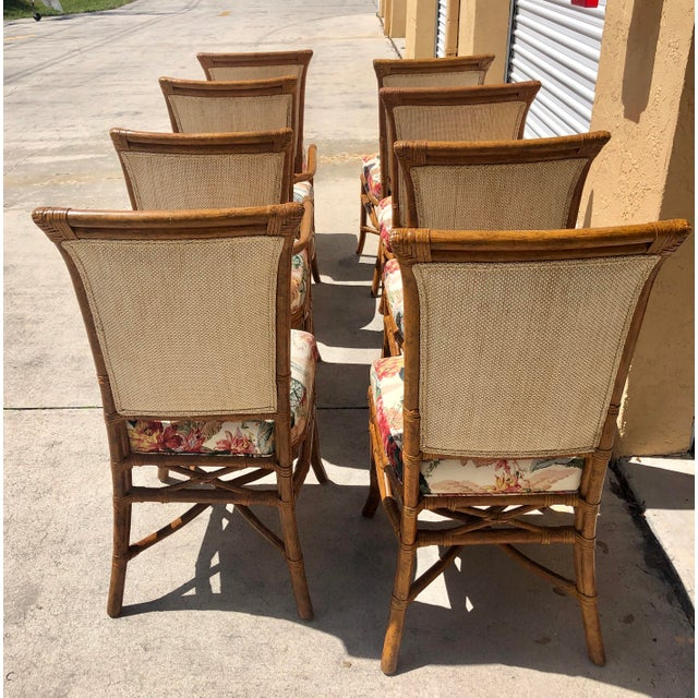 McGuire or Palecek Bamboo Leather Wrapped Dining Chairs- Set of 8 For Sale - Image 9 of 12