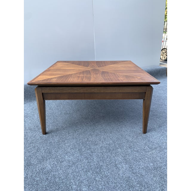 Mid-Century Modern Mid 20th Century Mid-Century Modern Drexel Square Walnut Table For Sale - Image 3 of 9