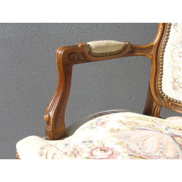Vintage French Provincial Accent Arm Chairs - Pair - Image 8 of 11