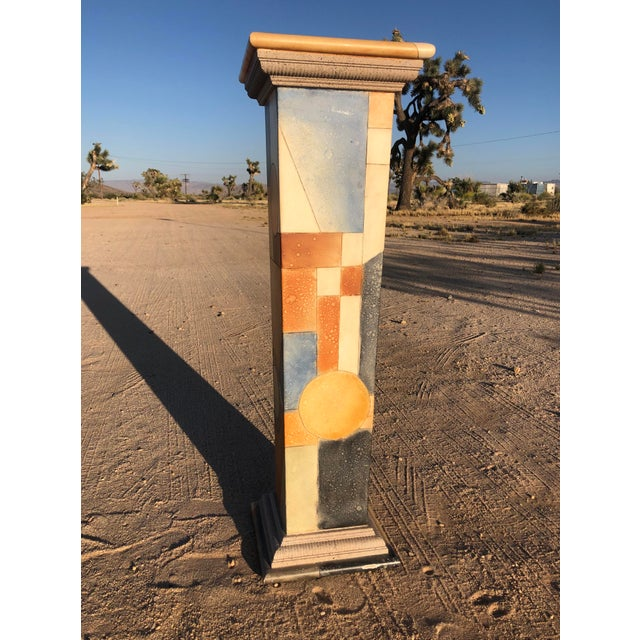 Brown 1980s Vintage Abstract Wood Pedestal For Sale - Image 8 of 11
