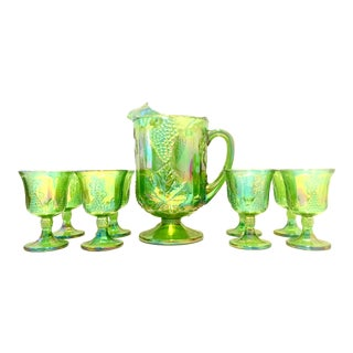 """Mid-20th Century American """"Carnival"""" Glasses- Set of 9 For Sale"""