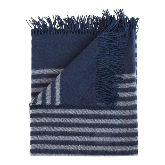 Alpaca Throw in Midnight Stripe For Sale