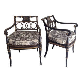 Pair of Regency Style Armchairs For Sale