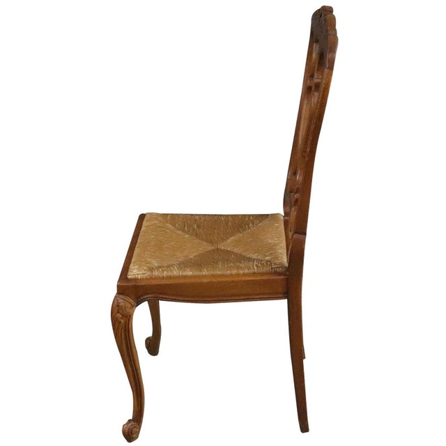 Wood Dining Chairs Louis XV Rococo Vintage French 1950 - Set of 6 For Sale - Image 7 of 11