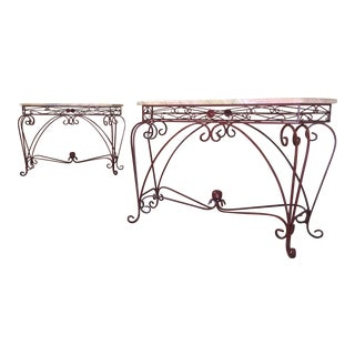 Vintage Iron & Marble Top Console