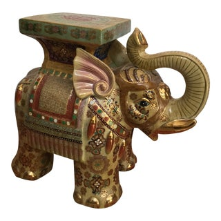 1960s Vintage Ceramic Elephant Stand or Side Table For Sale