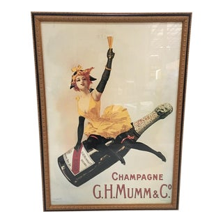 Framed Vintage Champagne Poster For Sale