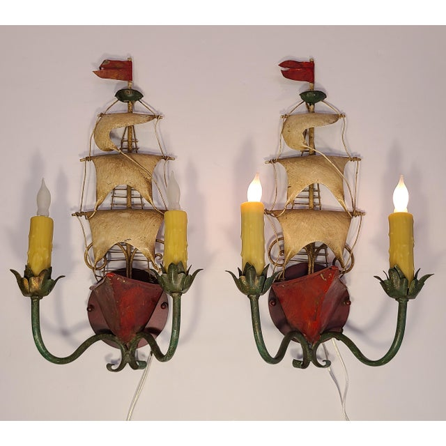 Traditional Vintage Italian Tole Ship Sconces by Florentia - a Pair For Sale - Image 3 of 12