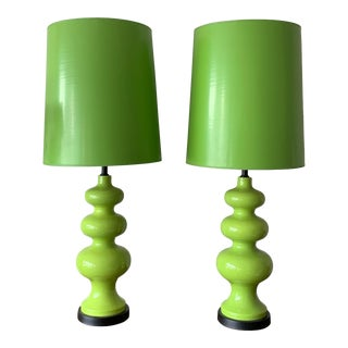 C. 1970s With Original Shades Ceramic Lamps - a Pair For Sale