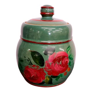 Green Flowered Stoneware Crock or Cookie Jar with Lid For Sale