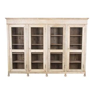 Antique French Oak Screen Door Display Cabinet For Sale