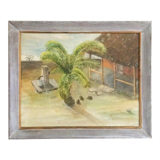 1970s Vintage Island Palm Tree and Bungalow Painting - Framed Oil on Board For Sale