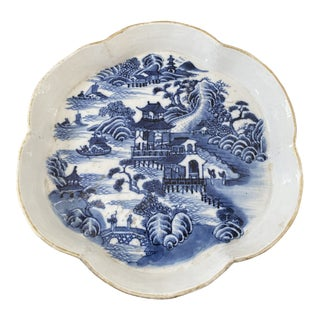 18th Century Chinese Export Blue and White Teapot Stand For Sale