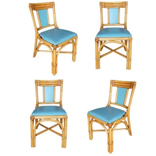 "Restored Mid-Century ""T-Back"" Rattan Dining Side Chair, Set of Four For Sale"