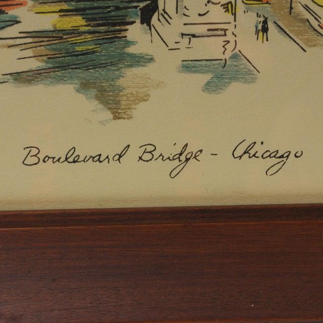 "1960s 1960s Vintage John Haymson Mid Century Modern Framed Print ""Boulevard Bridge, Chicago"" For Sale - Image 5 of 8"