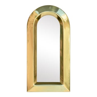 Vintage Arched Brass Mirror For Sale