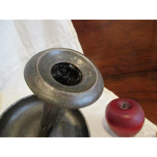 19th Century Antique 1800s New England Sheet Metal Tin Push Up Candle Stick For Sale - Image 5 of 12