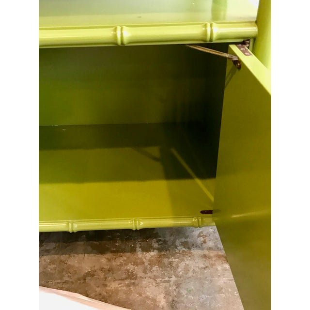 Asian Chinoiserie Avocado Green Faux Bamboo Cabinet/Bar Cabinet For Sale - Image 3 of 8