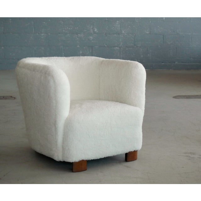 Modern Viggo Boesen Style Lounge Chair Covered in Lambswool by Slagelse Mobelvaerk For Sale - Image 3 of 9
