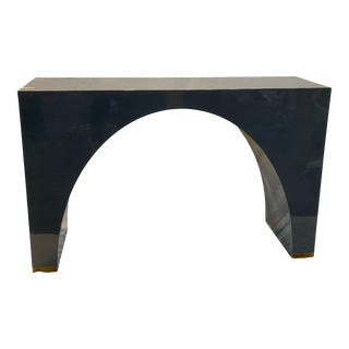 Contemporary Navy Blue Lacquered Shadow Console For Sale