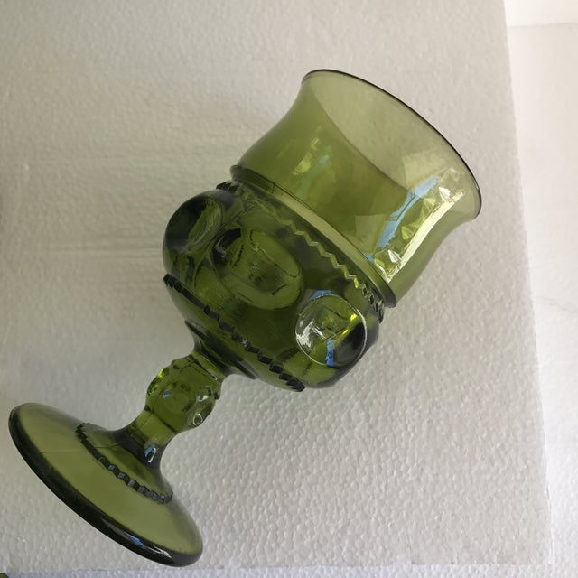 Mid-Century Green Goblet Glasses - Set of 7 For Sale - Image 9 of 10