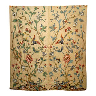 Crewel-Embroidered Foliage Drape For Sale