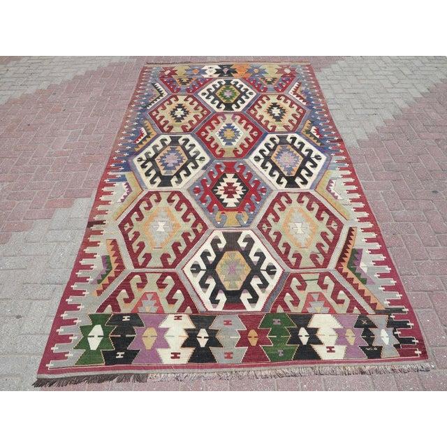 Vintage Turkish Kilim Rug - Image 9 of 9