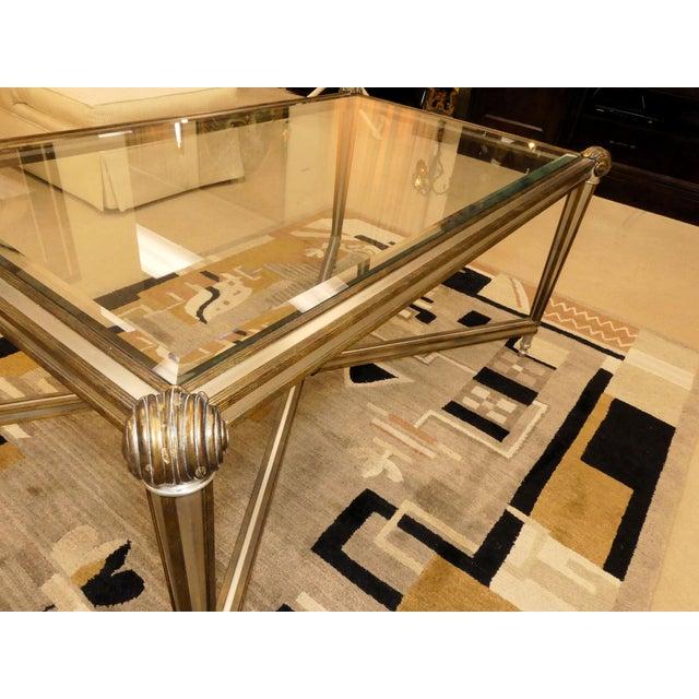 Metal LaBarge Hollywood Regency Brass & Steel Coffee Table For Sale - Image 7 of 13