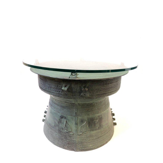 Pair of Bronze and Glass South Asian Rain Drum Tables For Sale - Image 4 of 11