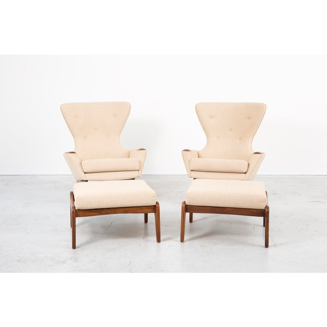 set of Wingback chairs + ottomans model 2231-C designed by Adrian Pearsall for Craft Associates USA, c 1950s walnut +...