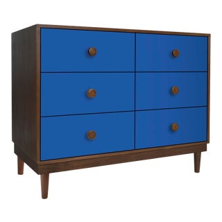 Lukka Modern Kids 6-Drawer Dresser in Walnut With Pacific Blue Finish For Sale